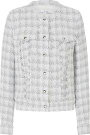 Quilombe Tweed Jacket In White And Silver