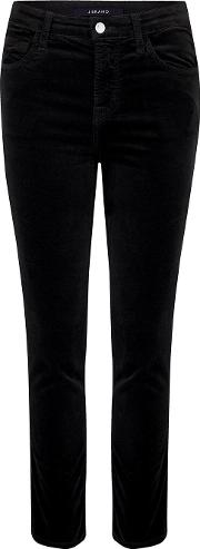 Ruby High Rise Cigarette Jean In Black Velvet