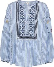 Archana Stripe Embroidered Top In French Blue