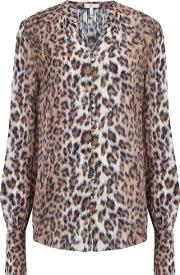 Tariana Leopard Print Blouse In Taupe