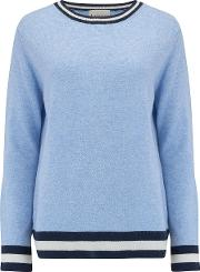 Boxy Crew Jumper With Striped Edge In Baby Blue