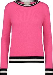 Boxy Crew Jumper With Striped Edge In Tulip Pink