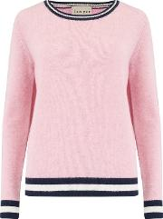 Heavy Boxy Rib Crew Jumper In Pink