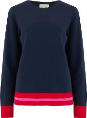 Multi Stripe Boxy Jumper In Navy And Neon Pink