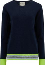 Multi Stripe Jumper In Navy, Neon Yellow And Grey