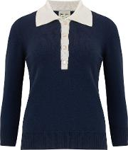 Stripe Polo Neck Jumper In Cream And Navy
