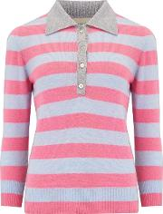 Stripe Polo Neck Jumper In Pewter, Candy And Sky Blue