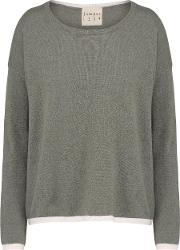 Tipped Crew Jumper In Moss And Dawn
