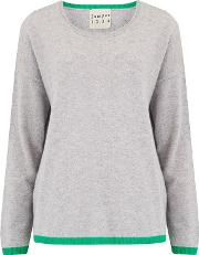 Tipped Crew Jumper In Pewter Grey And Green