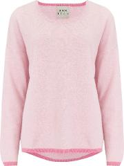 Tipped Crew Jumper In Pink And Candy
