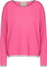 Tipped Crew Jumper In Tulip Pink And Grey