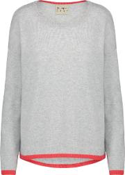Tipped Crew Neck Jumper In Grey And Crimson