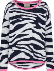 Tipped Crew Tiger Jumper In Navy And Grey