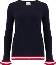 Chieve Frill Jumper In Navy, Red And Cream
