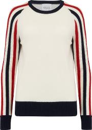 Montodine Jumper In Cream, Navy And Red