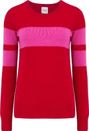 Pompiano Bold Stripe Jumper In Red And Pink