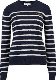 Je Ne Sais Quoi Stripe Sweater In Navy