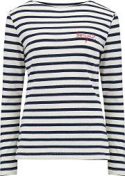 Sailor Long Sleeve Bonjour Tee In Navy And White