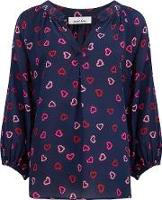 Clevedon Blouse In Blue Hearts
