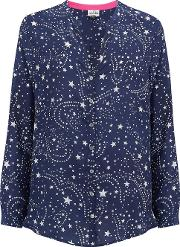 Hale Galaxy Print Blouse In Blue