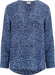Windsor Blouse In Mirco Safari True Blue