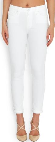 Hoxton Crop Roll Up Skinny Jean In Optic White