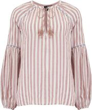 Jovannie Blouse In Muted Clay Cove Stripe
