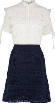 Stripe Giupure Lace Colour Block Mini Dress In Off White  Navy