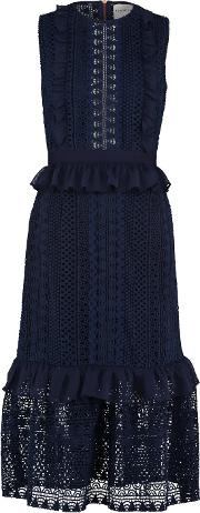 Stripe Guipure Lace Sleeveless Midi Dress In Navy