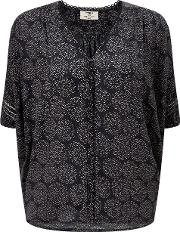 Robin Sparkle Dots Blouse In Navy And Pink
