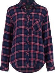 Hunter Shirt In Navy And Mauve
