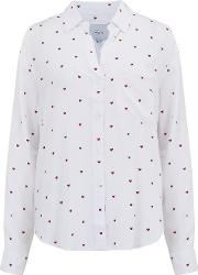 Rocsi Shirt In White And Red Hearts