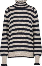 Cozy Ruffle Turtleneck Pullover In Marble Stripe