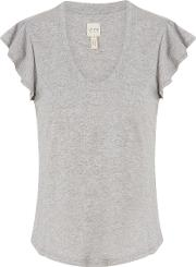 Washed Textured Jersey Top In Heather Grey