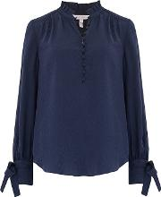 Long Sleeve Cheetah Jacquard Top In Navy