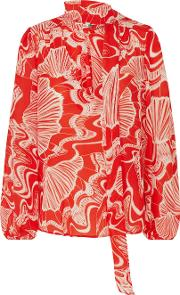 Moss Psychedelic Shell Print Blouse In Red