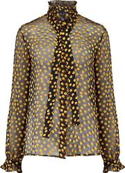 Emile Blouse In Black And Yellow Polka Dot