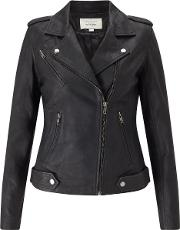Leather Biker Jacket In Black