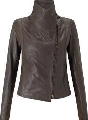 Leather Scuba Jacket In Brown
