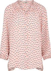 Classic Blouse In Pink And White Dots