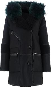Azza Faux Fur Reversible Hooded Duffle Coat In Black