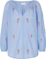 Martha Embroidered Blossom Chambray Top