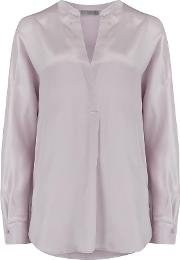 Band Collar Silk Blouse In Lilac