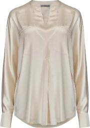 Collar Band Popover Blouse In Chiffon