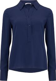 Slim Fitted Popover Blouse In Hydra