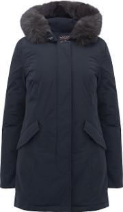 Luxury Arctic Fox Parka In Midnight Blue