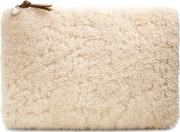 Large Zip Pouch Sheepskin Womens Bags Natural