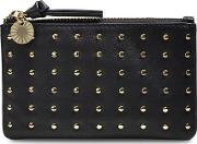 Small Zip Pouch Studs Womens Bags Black