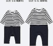 Babies Newborn Striped Long Sleeved All In One Outfit