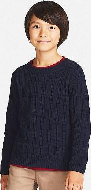Kids Cable Crew Neck Long Sleeve Sweater